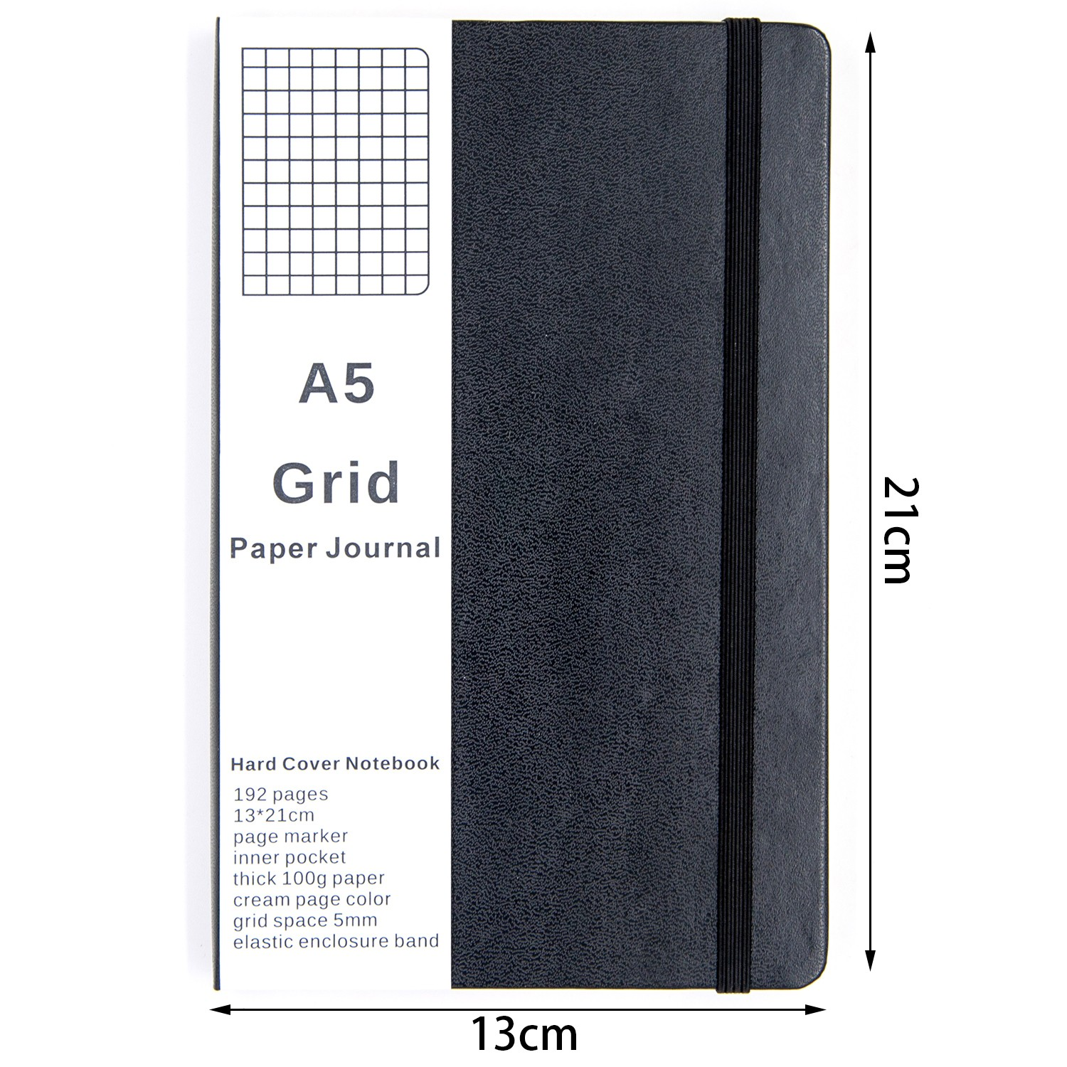 grid paper journal notebook medium a5 hardcover 192 pages bullet
